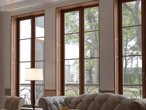 изображение окна коричневого цвета с фальш переплетением
