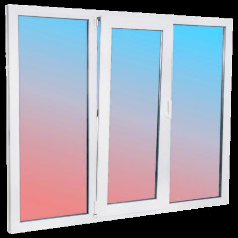 картинка окно трехстворчатое 2100х1400 с откидной створкой